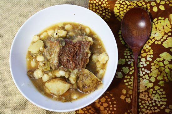 Hatch Chile Short Rib Stew with Hominy and Potatoes