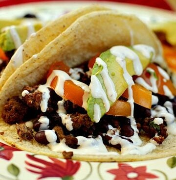 Ancho Chile Beef and Bean Tacos with Red Chile Buttermilk Dressing
