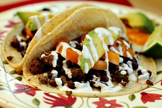 Beef and Black Bean Tacos Flavored with Ancho Chile