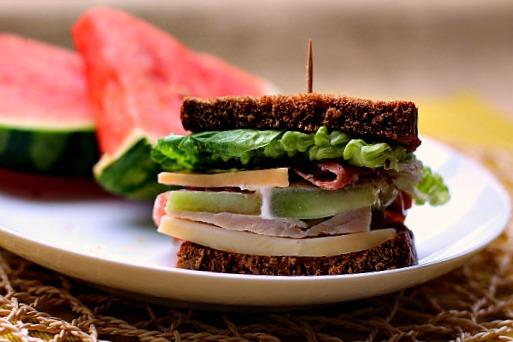 Melon and Salami Sandwich on rye bread.