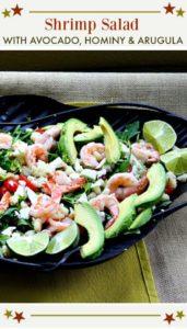 Shrimp Salad with Hominy Arugula and Avocado