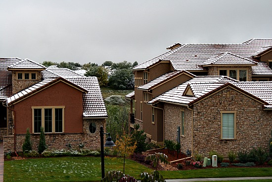 Snow on roofs at Treana