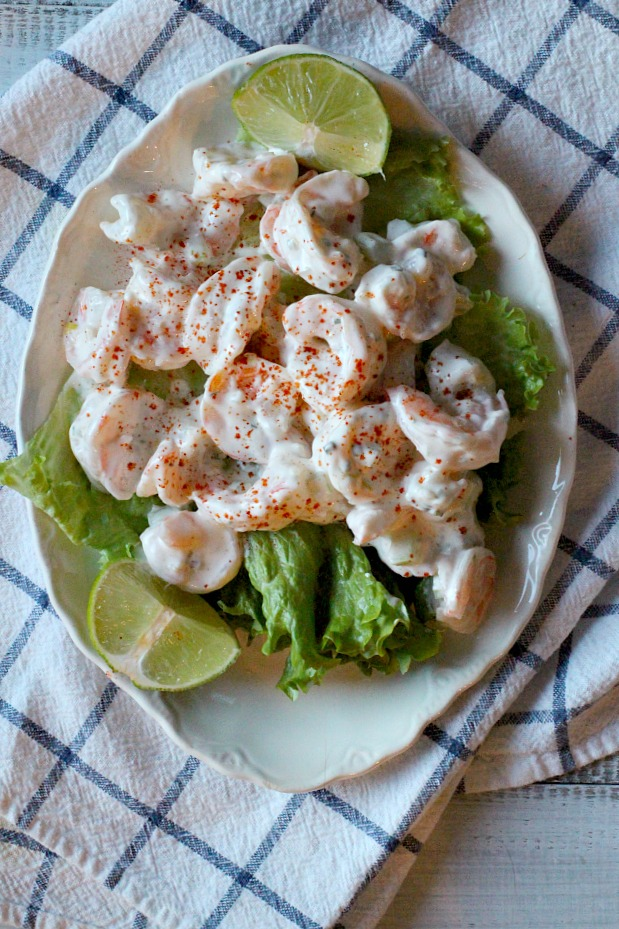 Creamy shrimp salad with celery, dill, lime zest.