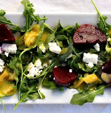 Easy Healthy Pickled Beet Salad with Arugula and Feta and a wonderful dijon dressing.