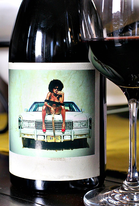 Wine label with vintage car