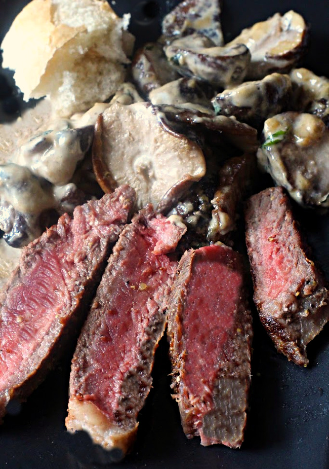 Steak and Mushrooms with a cognac cream sauce.