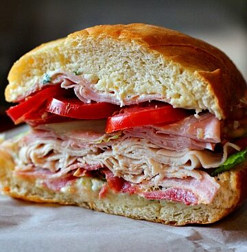 Best Club Sandwich, the star of this sandwich isn't the bacon, it's the lemony mayo spread. This sandwich is great to feed a crowd.