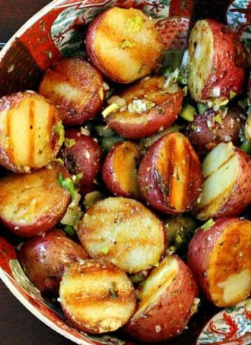 Grilled Red Potatoes with Basil Mustard Vinaigrette