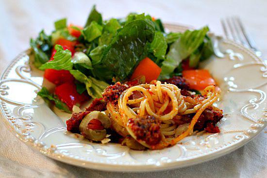 Spaghetti dinner with salad