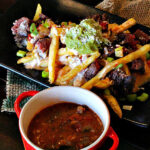 Fries with Queso and green chili