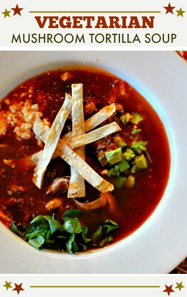 Vegetarian mushroom tortilla soup served in a large flat soup bow.