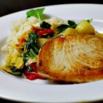 Red Lion Inn Swordfish, seared fish on top of mediterranean vegetables.