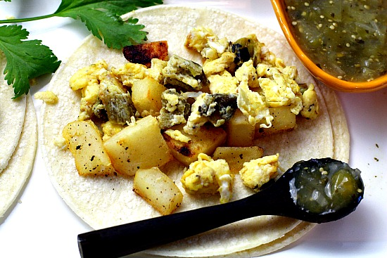 Potato and Scrambled Egg Breakfast Tacos