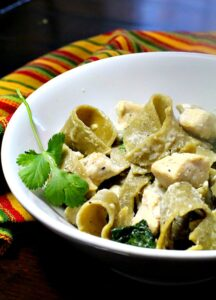 Hatch Green Chile Pasta with a irrestible cream sauce and chicken