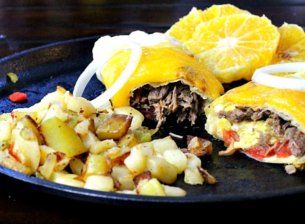 Mexican Shredded Beef Breakfast Burritos.
