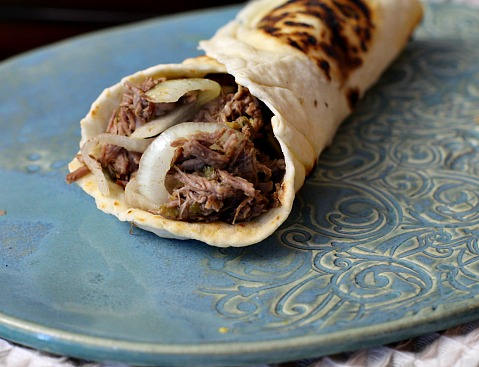 Beef machaca burrito. Filled with mexican shredded beef.