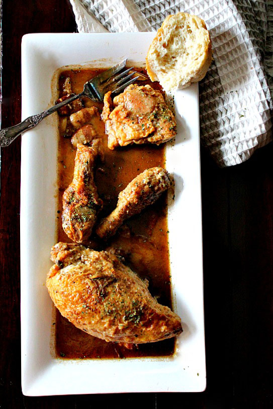 Dolore's Broken Hearted Chicken. Caramelized garlic and dry sherry make a luscious sauce for this simple but delectable braised chicken dish.