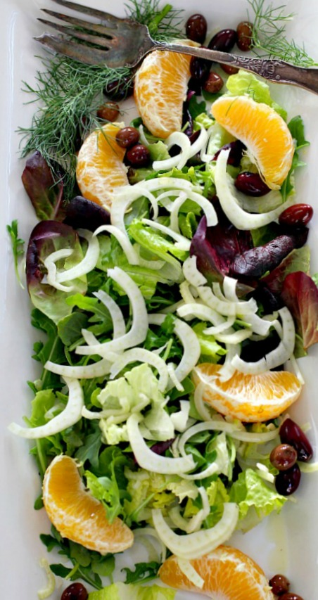 Fennel Orange salad with olives. A spanish salad side dish for paella.