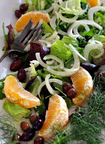 Orange, olive, fennel Salad. Beautiful in flavor and color.