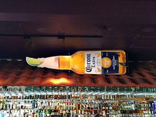 The massive Corona bottle at Los Dos Potrillos