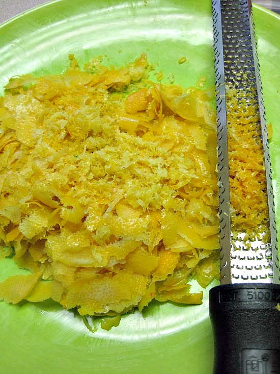Grated lemon peel for my limoncello recipe.