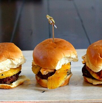 Smoky Chipotle Sliders. With chipotle mayonnaise and a ring of grilled pineapple these are a wonderful treat.