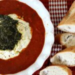 Baked 3 Cheese Appetizer with Pesto in Marinara Sauce