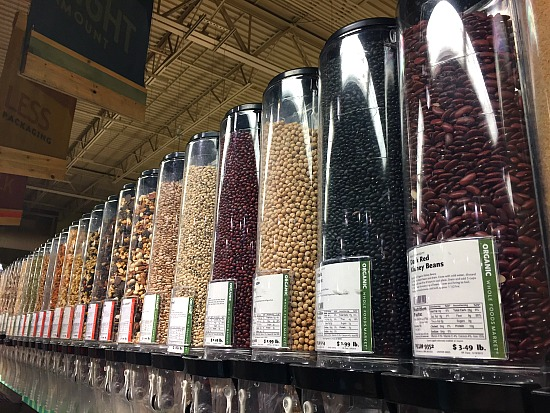 Dried beans in the bulk section for Vegetable Bean Soup