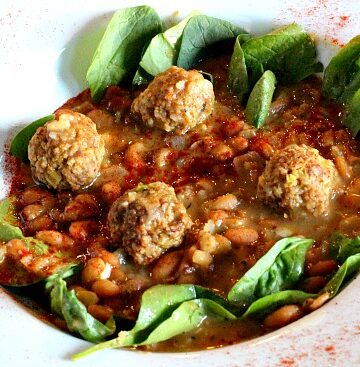 Mexican Chorizo Meatball Soup. With fresh spinach and myacoba beans.
