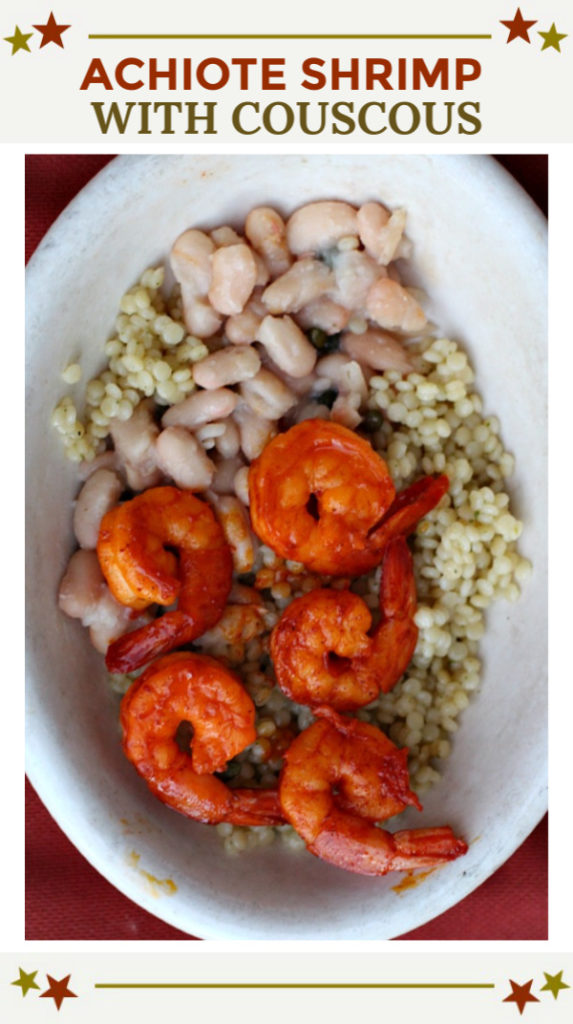 Achiote Shrimp with couscous and white beans