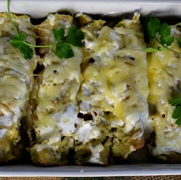 Beer Braised Pulled Pork Enchiladas Verde Casserole.