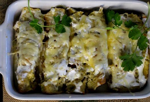 Beer Braised Pulled Pork Enchiladas Verde Casserole.