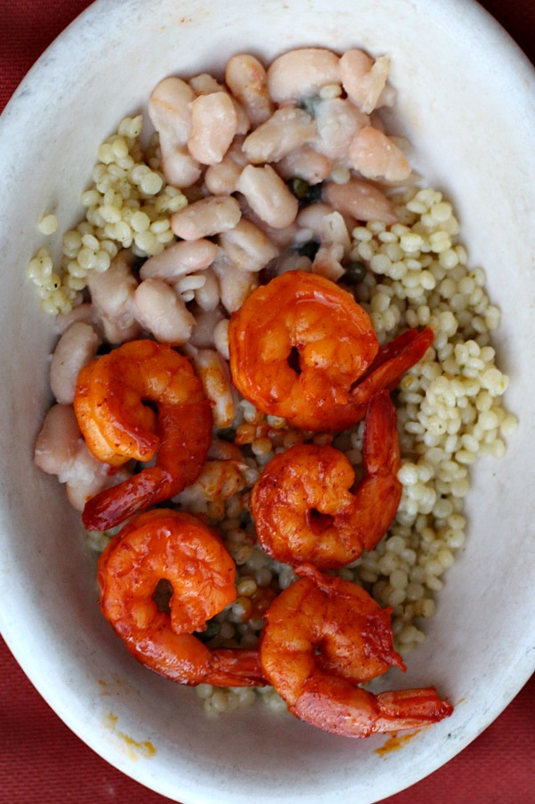 Easy and healthy shrimp dinner with couscous and white beans. A great way to use achiote paste.