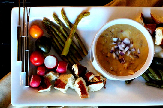 Easy appetizer style fondue recipe. With some fabulous dippers. A great easy appetizer recipe.