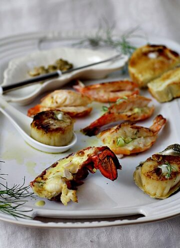 Shrimp, scallops, lobster, oysters. A great seafood dinner idea for your next special occasion.