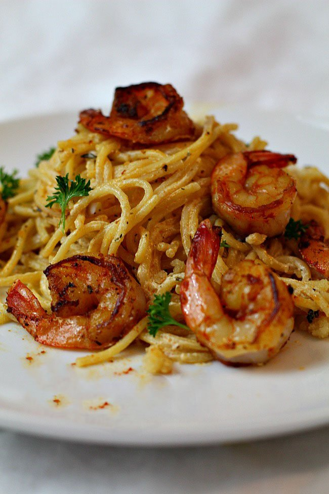 Spicy creamy shrimp pasta recipe cooking on the ranch What to make with shrimp for dinner