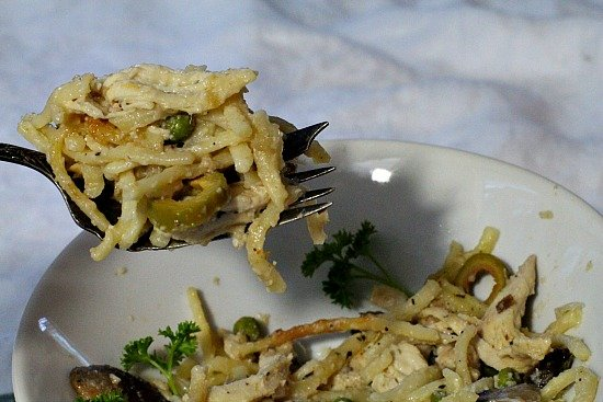 Chicken Tetrazzini Recipe. Creamy without using canned soup.