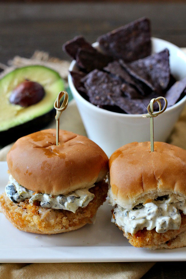 Fried Chicken Sliders, Mexican style with Poblano chile mayonnaise.