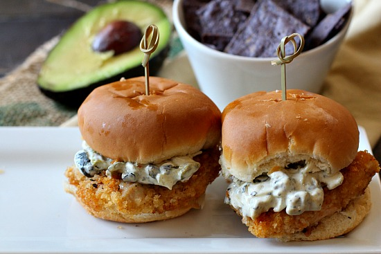 Fried Chicken Sliders with Zesty Poblano Mayo