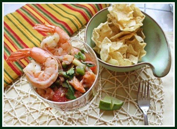 Mexican Shrimp Cocktail. Similar to ceviche except the seafood is cooked and not brined.