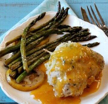 Easy chicken dish for entertaining. Elegant chicken cordon bleu with Apricot Brandy Sauce