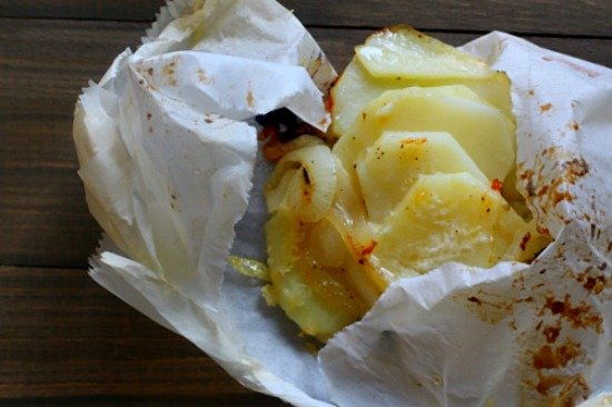 Pouch Potatoes with Ementhaler Cheese and Sweet Onions