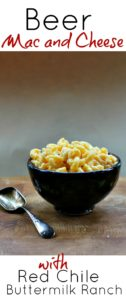 Beer mac and cheese with red chile buttermilk ranch sauce.