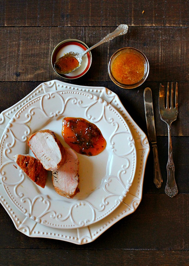 Peach and Basil Gastrique Sauce for Pork Tenderloin.