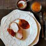 How to make a peach gastrique sauce for pork tenderloin.