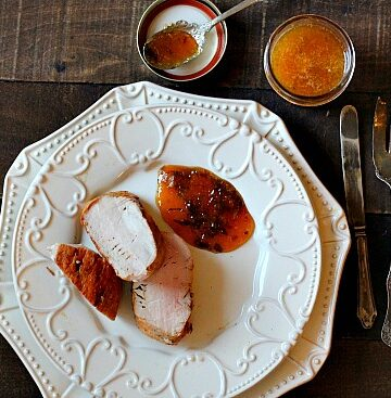 How to make a peach gastrique sauce for pork tenderloin.