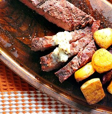 Flat Iron Steaks with Whiskey Country mustard Butter