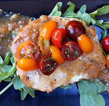 Easy Chicken Cutlet Dinner Recipe. Chicken with Tomato Cumin Vinaigrette