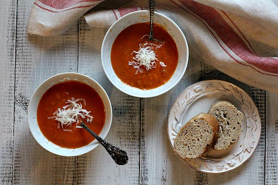 Tomato Soup with New Mexico Red Chile Powder.