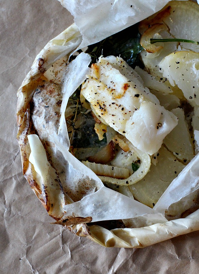 Steamed Cod in Parchment with Spinach Potatoes and Mushrooms